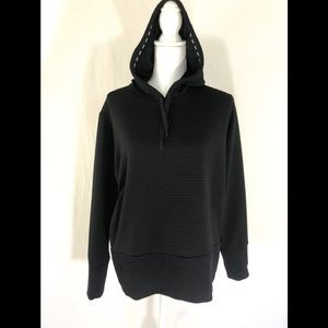 NIKE Black Ribbed Pullover Hoodie